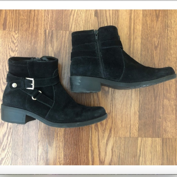 website for discount reasonably priced classic styles Anne Klein Black Suede Ankle Boots